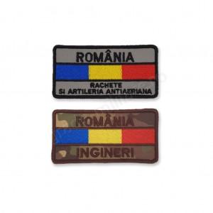 Ecuson nominal drapel cu ROMANIA si specialitatea armei