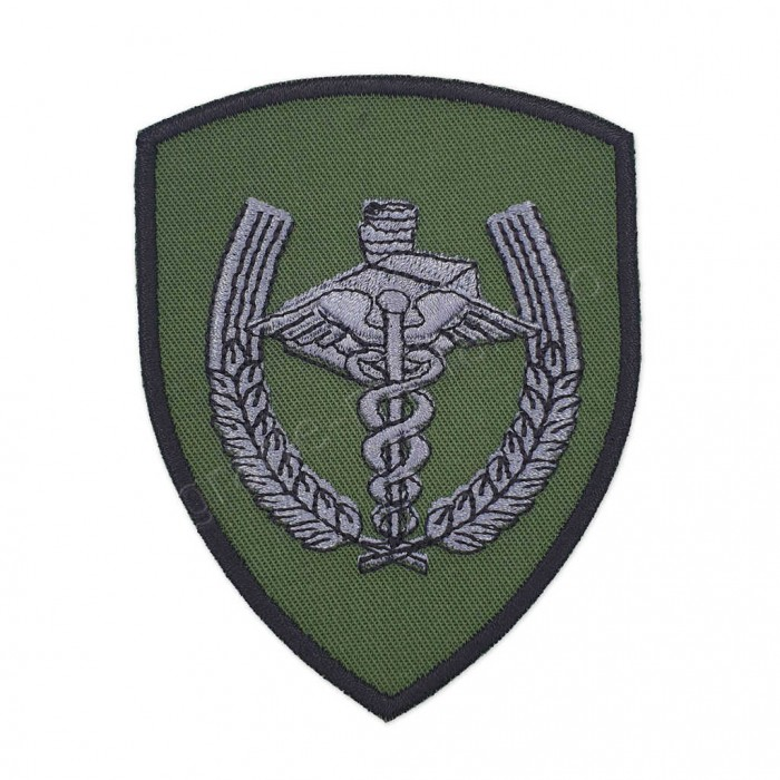 Emblema semn de arma maneca scut kaki cu negru