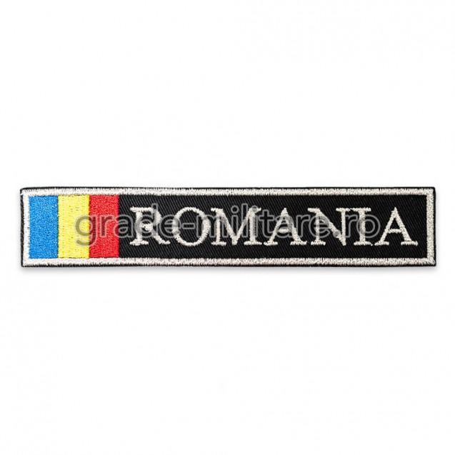 Ecuson Romania cu Drapel , fir metalic argintiu