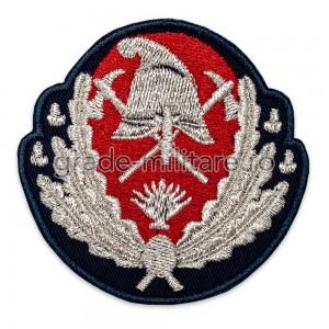Emblemă coifură ofițeri pompieri,IGSU brodată cu fir metalic argintiu